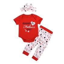 Happy 1st Mother's Newborn Infant Baby Boys Girls Outfit Short Sleeve Love Mommy Bodysuit+ Pants 3PCS Set