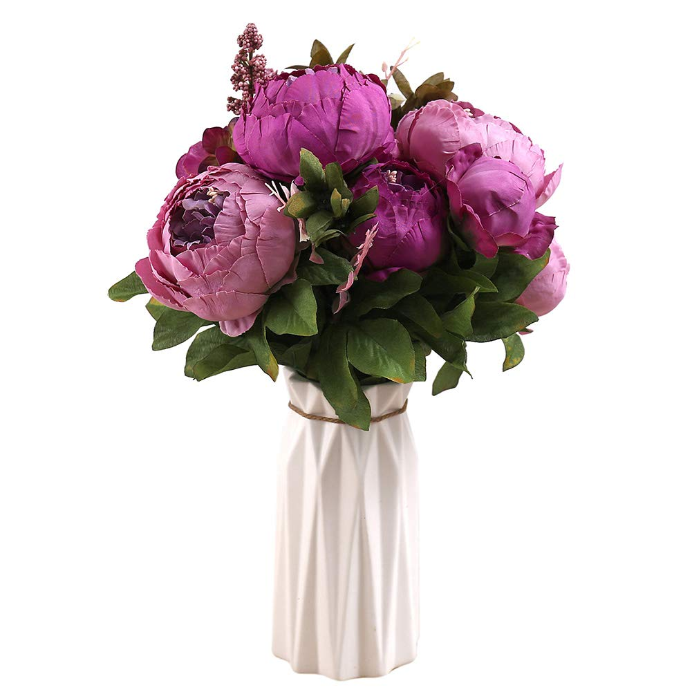 Uworld Artificial Flowers Real Looking Fake Peony for Party,DIY Wedding Bouquets Home Centerpieces(Purple C)