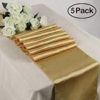 "TRLYC Pack of 5 Gold Satin Runner 12"" X 108"" Wedding Satin Table Runners"