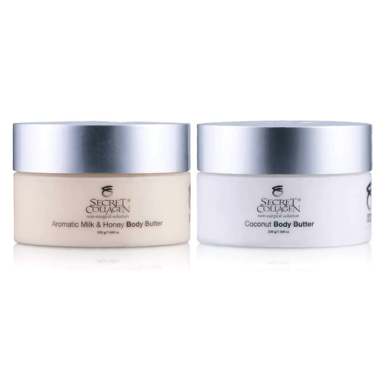 Aromatic Milk & Honey Body Butter 208ML + Coconut Body Butter 208ML (Bundle) | Moisturizing | Reduces Dark Spots | Promotes Cell Rejuvenation | Restoring | Bio Organica Collagen & Retinol Boosters