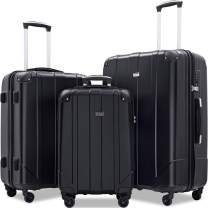 Merax 3 Pcs Luggage Set with Built-in TSA and Reinforced Corners, Eco-friendly P.E.T Light Weight Spinner Suitcase Set (black1)