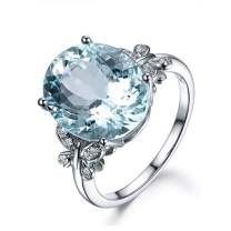 AINUOSHI 6 Carat Blue Topaz Butterfly Ring Sterling Silver 10x14mm Oval Gemstone Ring Engagement Rings