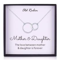 OR OLD RUBIN Mother and Daughter Necklace-925 Sterling Silver Interlocking Infinity 2 Circle Necklace Gift for Mom, Mom Birthday Gifts, Mom Gift from Daughter