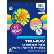 """Tru-Ray Heavyweight Construction Paper Pad, 5 Assorted Hot Colors, 9"""" x 12"""", 40 Sheets"""