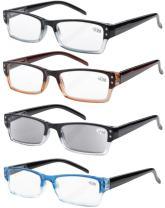 Eyekepper Reading Glasses-4 Pack Include Reading Sunglasses for Women Men Reading Under The Sun,Two-Tone Reader Eyeglasses