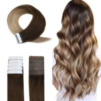Easyouth Tape in Balayage Hair Extensions 18 Inch 40g 20Pcs per Package Color Middle Brown Fading to Ash Blonde Highlight with Honey Blonde Tape in Tape for Hair Extensions Skin Weft Hair