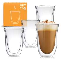 Latte Cups Double Walled Coffee Glasses Set of 4 - Clear Glass Thermo Insulated Stackable Mugs, 7.5oz