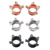 IPINK -Cute Kitten Cat Ear Plugs Tunnels Gauges Stretcher Piercings 3 Pairs 2G-25mm