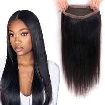 8A Grade 360 Lace Frontal Brazilian Straight Pre Plucked 360 Frontal Closure with Baby Hair 100% Unprocessed Remy Human Hair Frontal Nature Color (18Inch, 360 frontal)