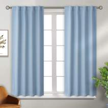 BGment Rod Pocket and Back Tab Blackout Curtains for Bedroom - Thermal Insulated Room Darkening Curtains for Living Room, 2 Window Curtain Panels (38 x 45 Inch, Airy Blue)