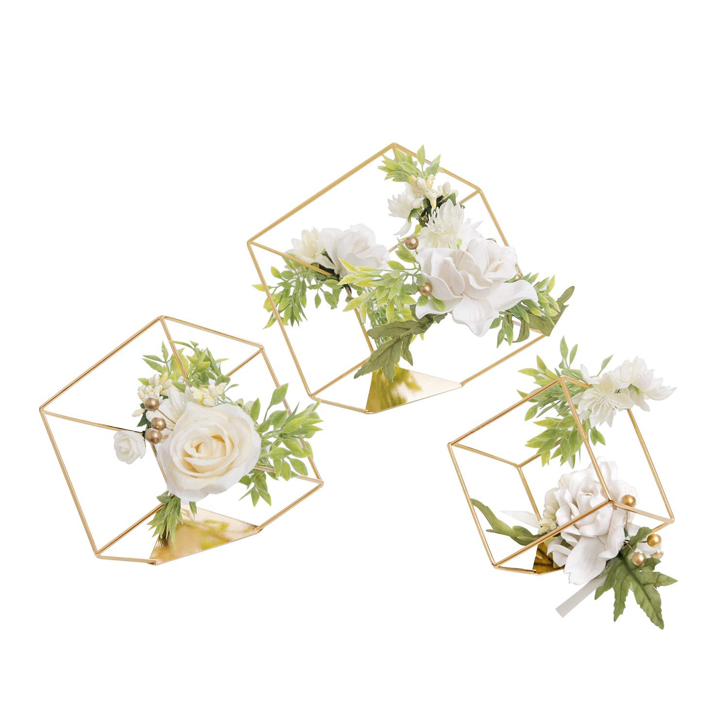 Ling's moment Set of 3 Gold Geometric Wedding Centerpieces Ornaments Ivory Rose Flower Table Centerpieces for Wedding Party Decor