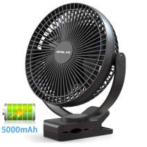OPOLAR New 8-Inch 5000mAh Battery Operated Desk Clip Fan, Rechargeable & 10W Fast Charging & Strong Clamp, 4 Speeds, Portable USB Fan for Golf Cart with Round Roof/Gym/Treadmill/Car