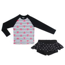 AMIYAN Baby Girls' Quick Drying Skirt Swimsuit Long Sleeve Floral Ruffles Swimwear UPF 50+