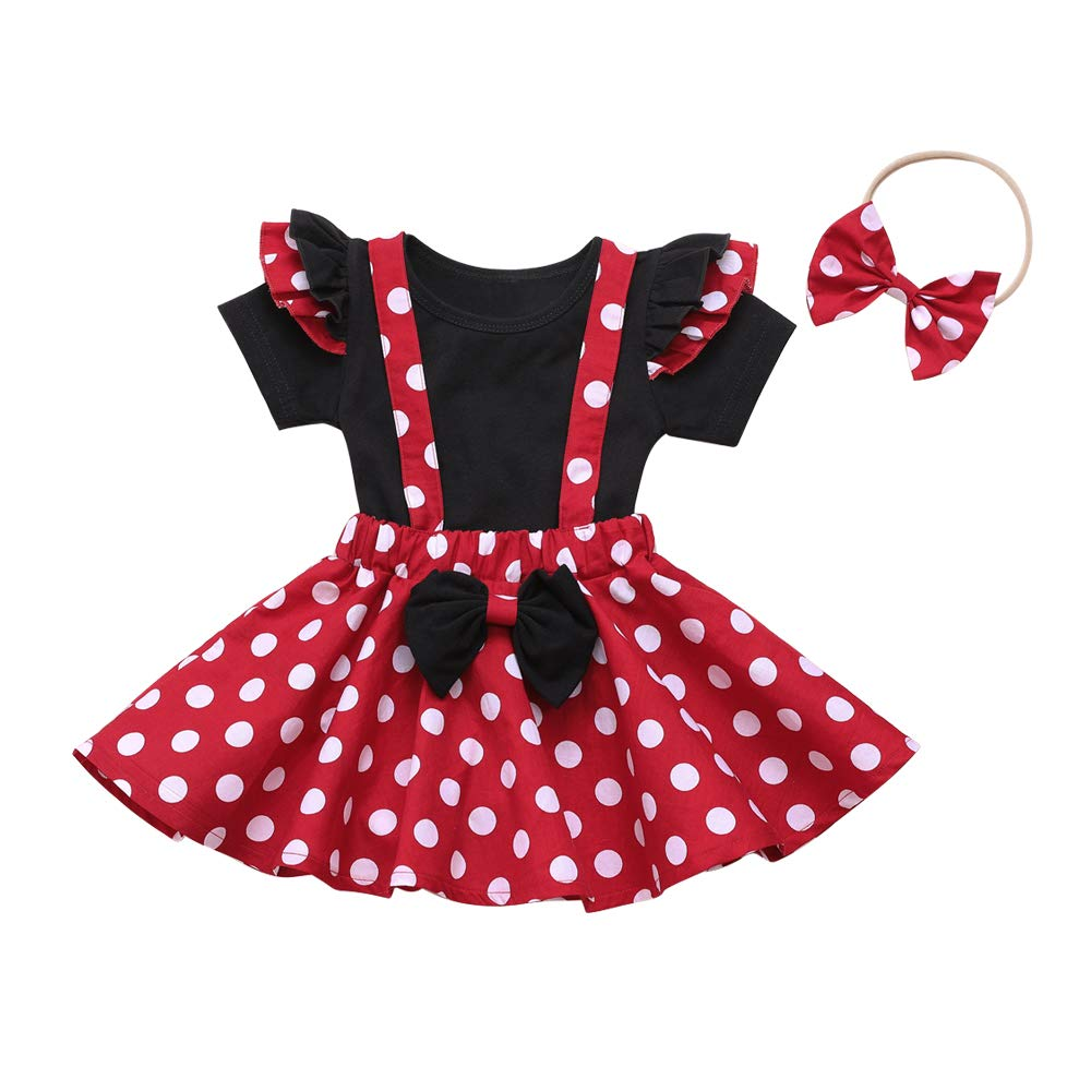 Newborn Baby Girl Clothes Red Dot Ruffle Backless Romper Cute Jumpsuit Bodysuit Outfit Onesies