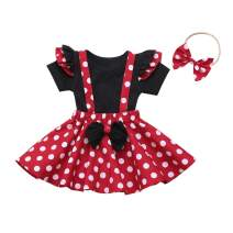 Toddler Girls Dress Outfits Baby T-Shirt Clothes Set Girl Black T-Shirt + Red Dot Strap Skirt Outfits