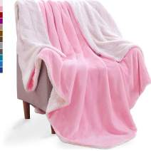 KAWAHOME Sherpa Fleece Blanket Super Soft Extra Warm Thick Winter Blanket for Couch Sofa Bed King Size 108 X 90 Inches Pink