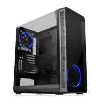 Thermaltake View 37 Riing E-ATX Mid Tower Computer Case with 2 Blue LED Fan Pre-Installed CA-1J7-00M1WN-00
