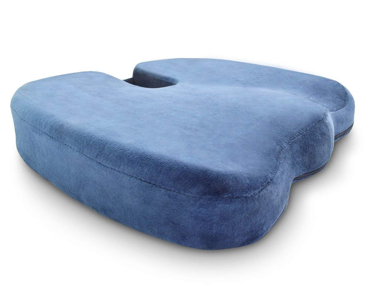 Crafty World Comfy Pro Memory Foam Seat Cushion - Provides Rapid Relief from Back, Tailbone, Hip & Sciatica Pain - Ideal for Home, Office, Car - Blue