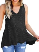 Ferbia Women Sleeveless V Neck Tank Tops Racerback Crochet Flowy Vest Loose Casual Summer Peplum Pointelle Cami Cover Up