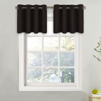 NICETOWN Thermal Insulated Kitchen Valance - Energy Efficient Grommet-Top Valance Drape for Small Window (1 Piece, W52 x L18 + 1.2 inches Header, Toffee Brown)