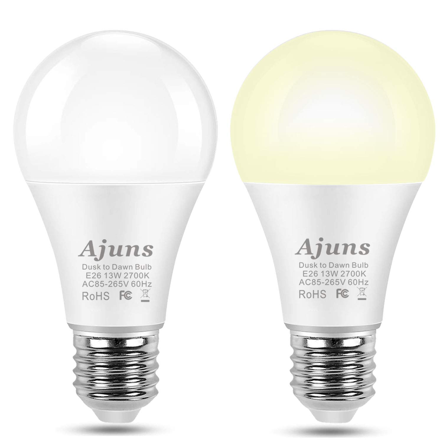 Dusk to Dawn Light Bulb,Sensor LED Light Bulb 100W Equivalent Automatic On/Off for Corridors, Stairs, Garages, Patios, E26 Base13W Warm White 2700K, 2Pack