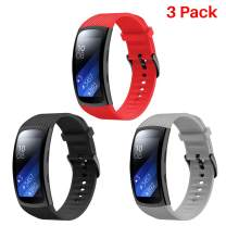 Junboer Compatible Gear Fit2 Pro/Fit2 Watch Band, Replacement Silicone Watch Strap for Gear Fit2 Pro Smartwatch Bands 3-Pack(Black/Gray/Red,Large)