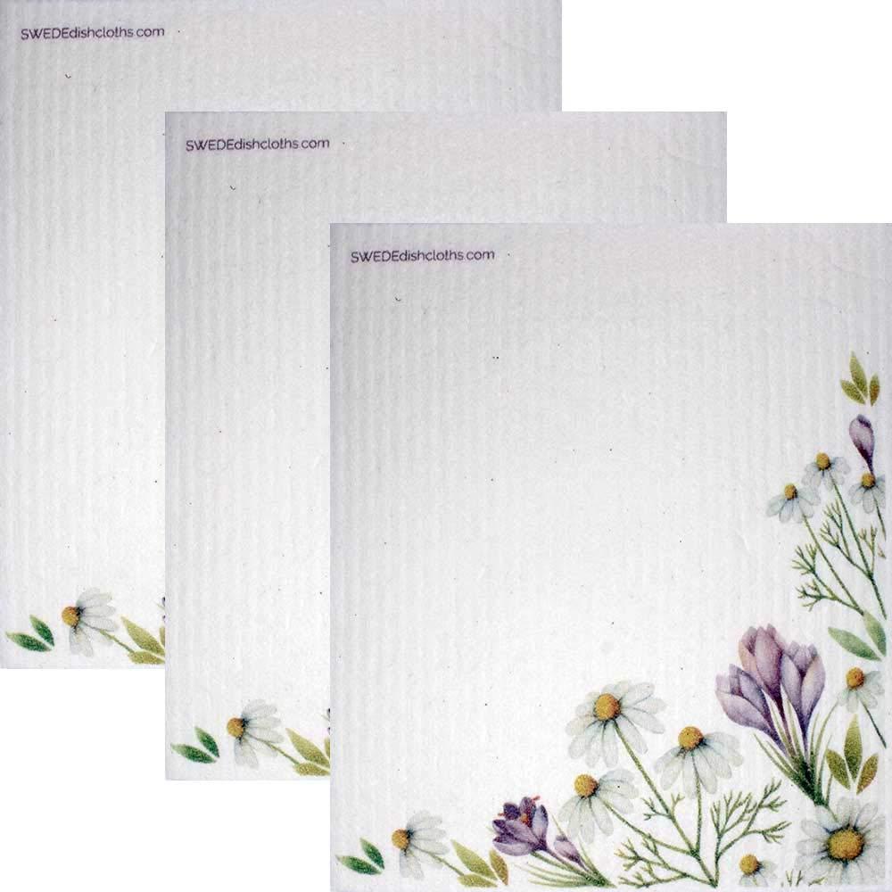 SWEDEdishcloths Chamomile Flowers Set of 3 Each Swedish Dishcloths | ECO Friendly Reusable Absorbent Cleaning Swedish Dishcloths (Chamomile)