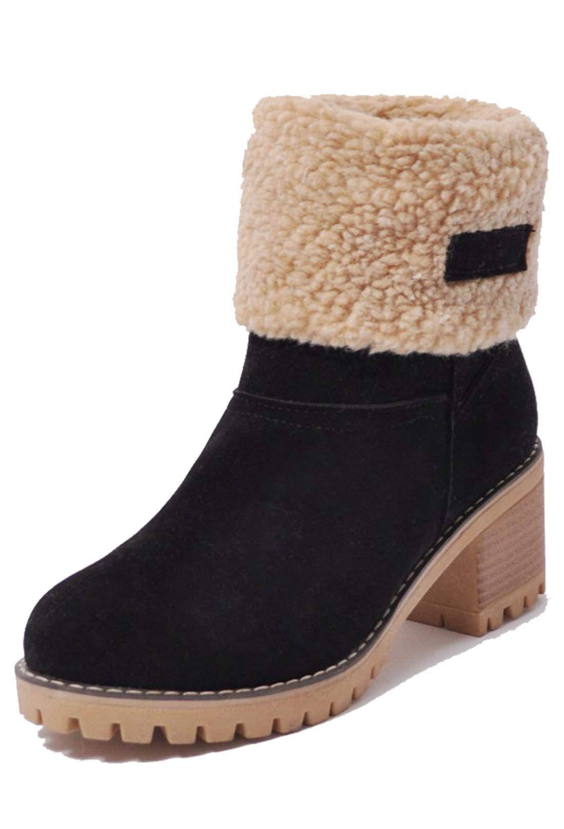 Kssmi Warm Cute Women Winter Snow Ankle Boots Faux Fur Chunky Block Heel Short Booties