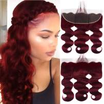 Valentines Day Gifts Aigemei Lace Frontal Body Wave Weave 13x4 Free Part with Baby Hair Peruvian Virgin Human Hair Frontal Ear To Ear Burgundy Color #99j 14inch