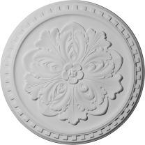 """Ekena Millwork CM16ER Emeryville Ceiling Medallion, 16 7/8""""OD x 5/8""""P, Factory Primed"""