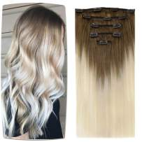 [20% OFF for 1 day]LaaVoo Remy Long Clip in Hair Extension 5pcs Full Head Clip in Hair Real Human Hair with Double Weft Ombre Light Brown to Light Blonde Clip in Extension Salon Quality 70g/20in