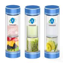 GOSOIT Tea Tumbler Infuser Water Bottle Glass with Filter for Loose Leaf,Double Wall Fruit Water Infuser Tea Cup Coffee Travel Mug Gift guide-300ml/11oz 1PK Blue
