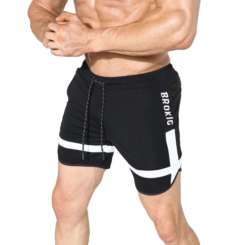 "BROKIG Mens 5"" Gym Squat Shorts Workout Bodybuilding Lightweight Quick-Dry with Zipper Pockets"