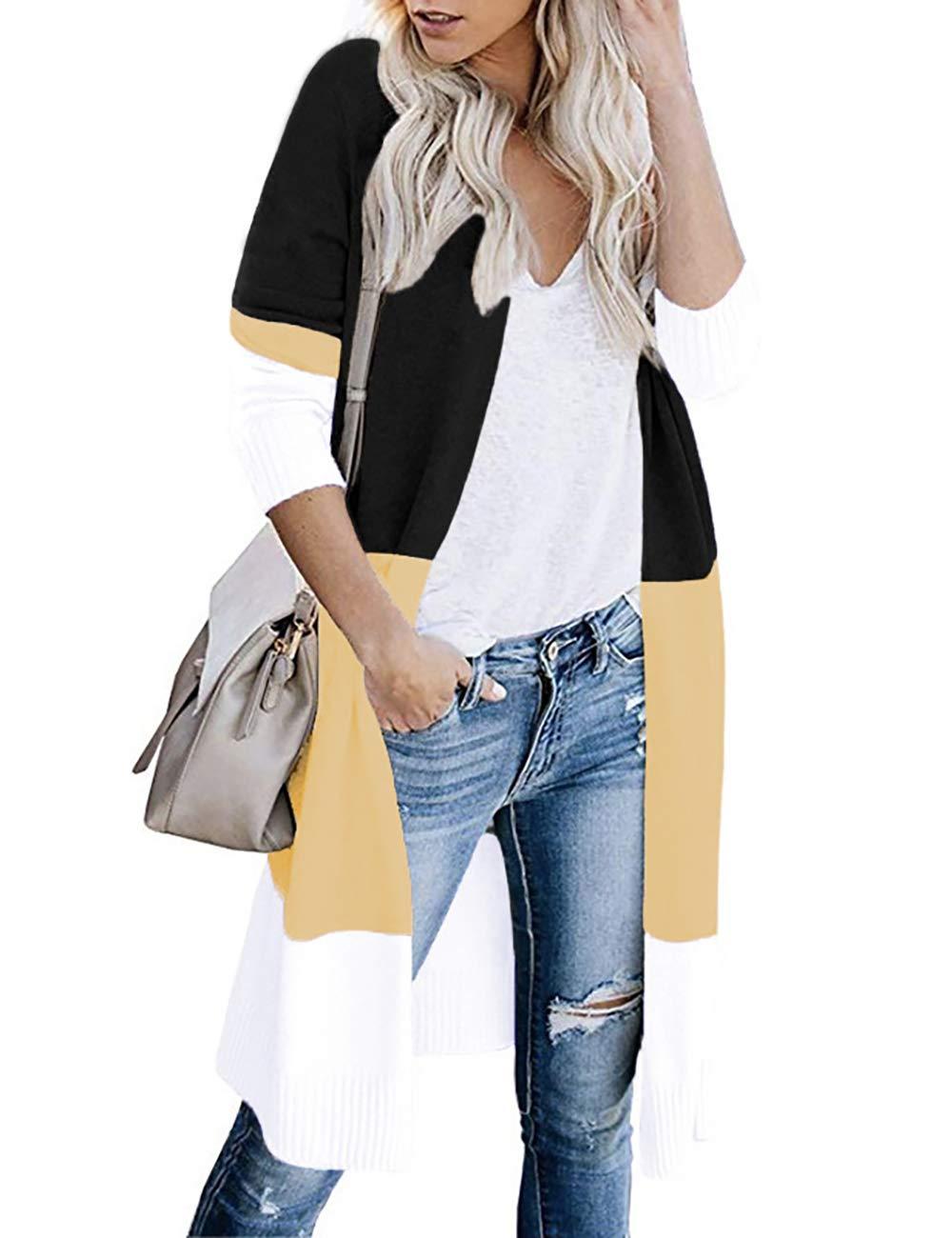 Lrady Women's Open Front Cardigan Long Sleeve Color Block Lightweight Sweater Coats