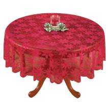 """YIZUNNU Diameter 70"""" Vintage Round Lace Doilies Red Maple Leaf Polyester Tablecloths Table Cover Dining Home Party Wedding Decorome Party Wedding Decor"""