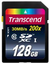 Transcend 128GB SDXC Class 10 Flash Memory Card Up to 30MB/s (TS128GSDXC10)