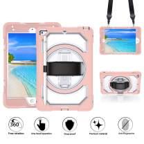 GROLEOA iPad Mini 5 Case Anti-Drop Rugged Protective iPad Mini 2019 Case 360 Rotation Stand+Hand Strap+Shoulder Strap+Pencil Holder Case for iPad Mini 5 2019/ Mini 4 2015 (Clear+Baby Pink)