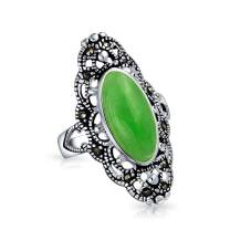 Vintage Style Oval Dyed Green Jade Armor Full Finger Filigree Statement Ring For Women Marcasite 925 Sterling Silver