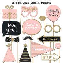 Fully Assembled 13th Birthday Photo Booth Props. 30 Piece Box Set of Pink, Rose Gold and Black Accessories with Real Glitter. Original Designs Need No DIY. Bday Selfie Party Supply and Decoration Kit.
