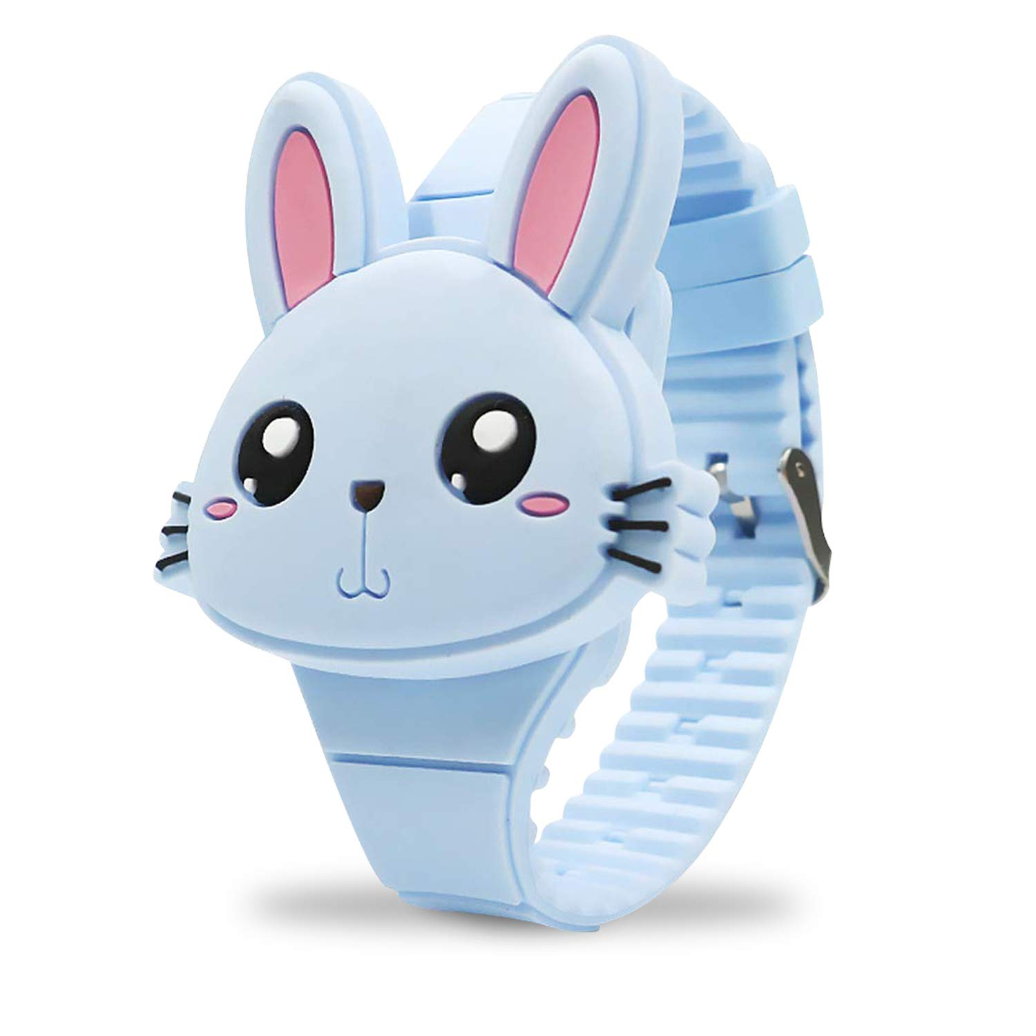 Girls Watches for Kids, Cute Pink Rabbit Cartoon Shape Clamshell Design Digital Led Toys Bunny Watch Birthday Gift for Little Girls Boys