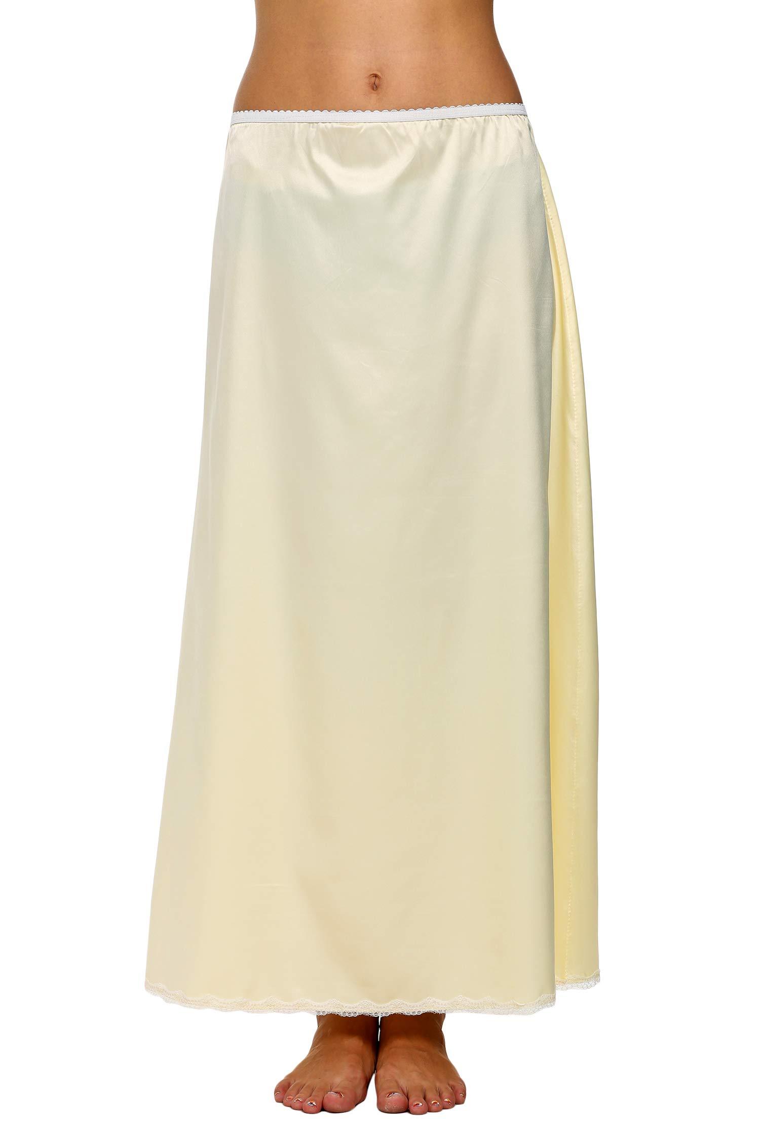 "Avidlove Women's Satin Half Slip 36"" Lace Long Underskirt S-XXL"