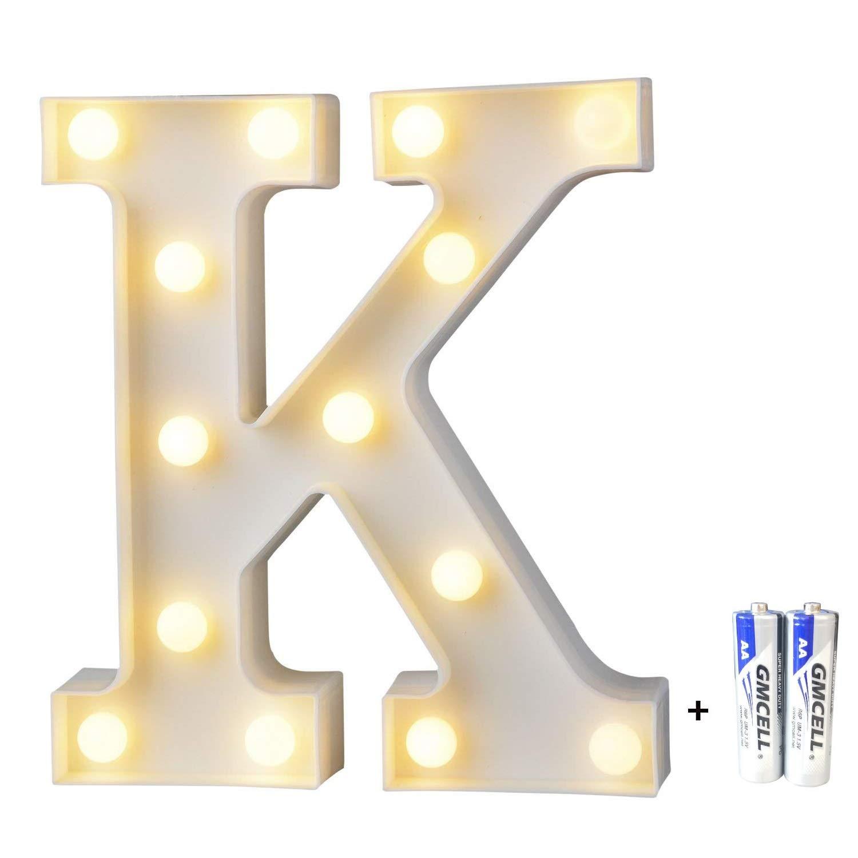 bemece LED Alphabet Letter Lights, Marquee Decorative Warm Plastic Light up Sign (Battery Included)- Letter K