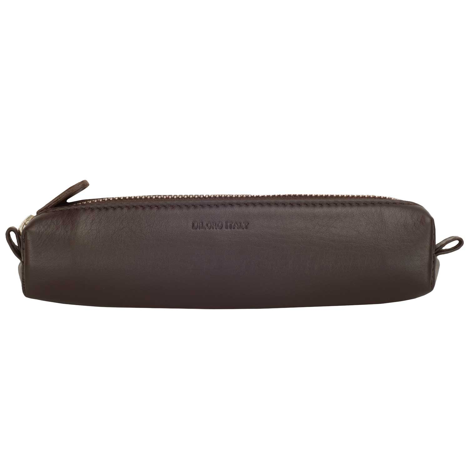 DiLoro Italy Zippered Fountain Ballpoint Rollerball Pens and Pencils Case Holder Pouch Genuine Full Grain Soft Nappa Leather (Nappa Brown)