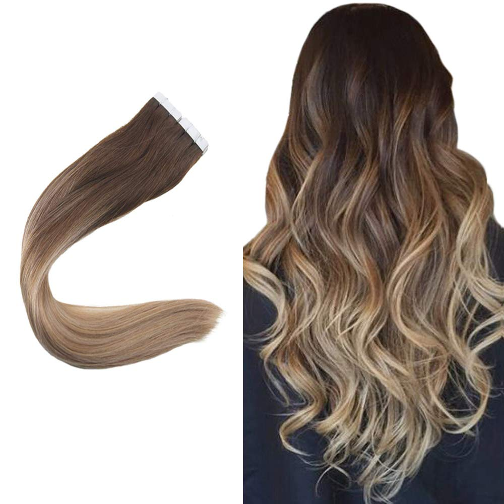 Easyouth 16inch Tape In Hair Seamless Skin Weft Balayage Color 4 Brown Fading to 18 Ash Blonde And 27 Honey Blonde 80 Gram per Pack Seamless Tape on Hair Extensions