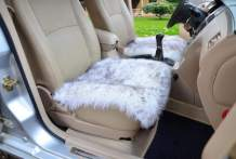 OKAYDA Square Natural Sheepskin Seat Cushion Cover 1 Pc Universal Fit Fur Cushion for Car, Chair and Armchair (Grey Tips 1)