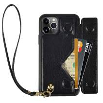 iPhone 11 Pro Max Wallet Case, iPhone 11 Pro Max Case with Card Holder Wrist Strap, ZVEdeng PU Leather Wallet Case Phone Case Shockproof Flip Cover Handbag Purse-Black