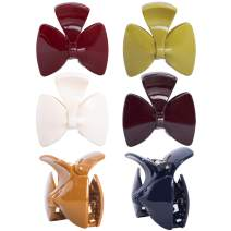 RC ROCHE ORNAMENT 6 Pcs Womens Cute Ribbon Bow Tie Jaw Claw Clamp Clutcher Inner Teeth Styling Sectioning Simple Fashion Beauty Accessory Multicolor Hair Clip, Medium Classic Multicolor