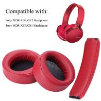 Krone Kalpasmos Replacement Kit for Sony MDR-XB950BT MDR-XB950B1 Around-Ear Headphones, Including Ear Pads and Headband Cushion, Soft Protein Leather Memory Foam Covers Sony Repair Accessories - Red