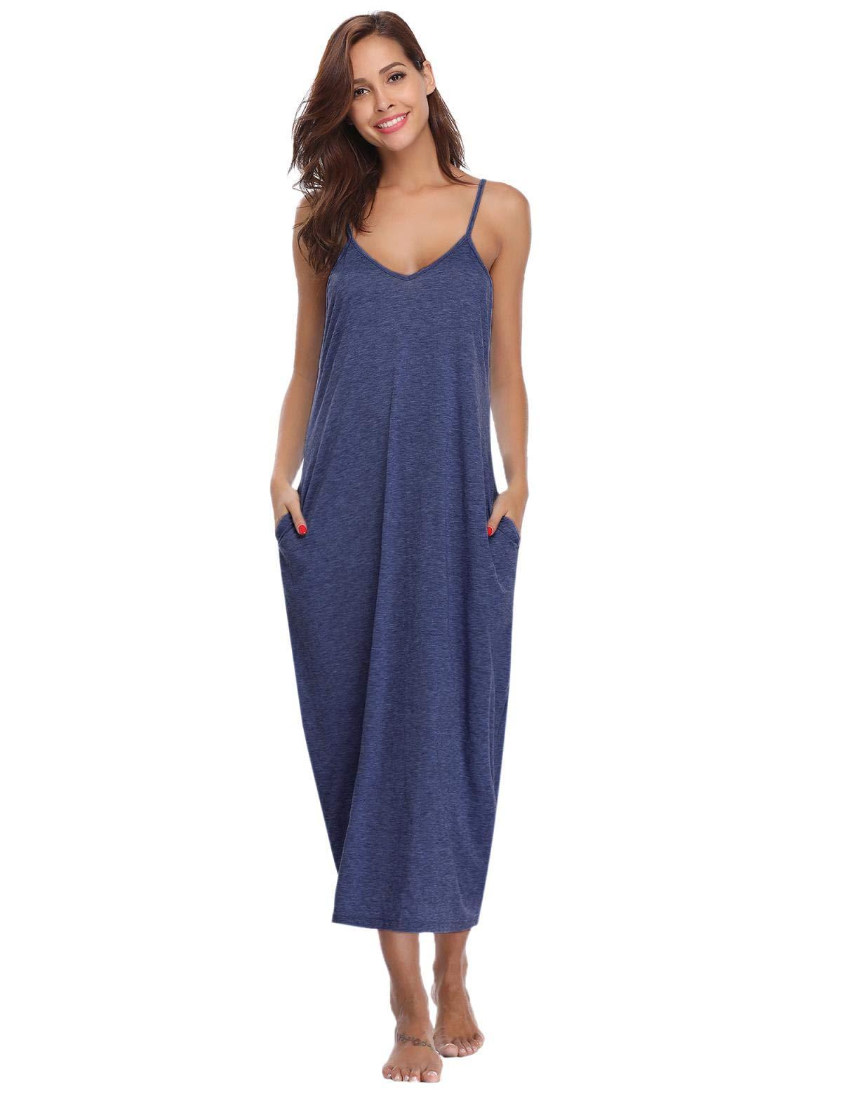 Abollria Womens V-Neck Spaghetti Strap Maxi Dress Summer Casual Loose Dress with Pockets Beach Cami Long Dress Night Dress