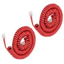 Telephone Phone Handset Cable Cord,Uvital Coiled Length 2.64 to 22 Feet Uncoiled Landline Phone Handset Cable Cord RJ9/RJ10/RJ22 4P4C(Red,2 PCS)